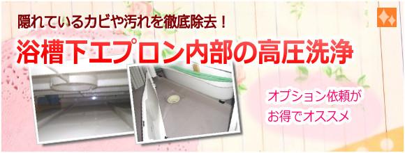 浴槽下エプロン内部の掃除【高圧洗浄でカビ除去】