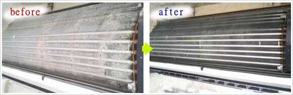 エアコン内部のお掃除ビフォーアフター
